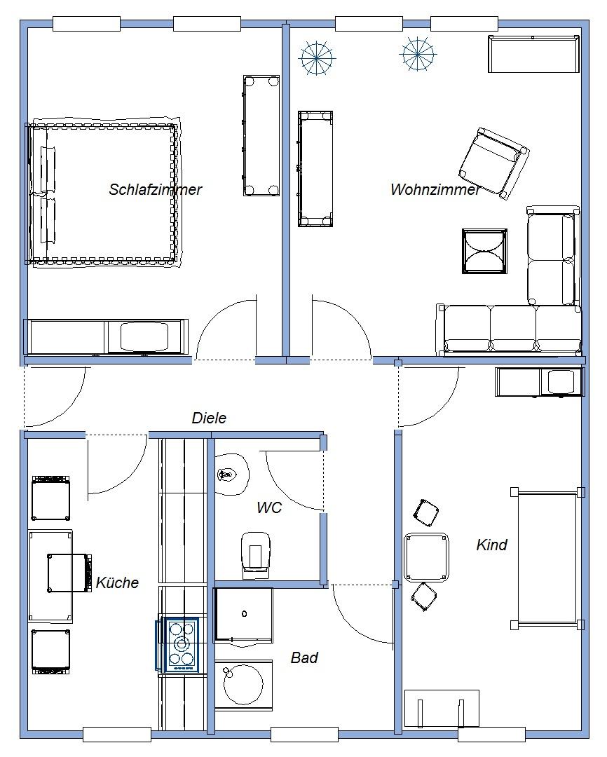 Einrichtungsplan  Wohnen in Güsten, Mietwohnungen in Güsten